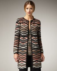 M Missoni | Gray Metallic Bias-plaid Coat | Lyst