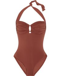 Melissa Odabash | Brown Berlin Underwired Halterneck Swimsuit | Lyst