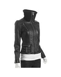 MICHAEL Michael Kors | Black Leather Knit Collar Bomber Jacket | Lyst