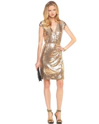 Michael Kors | Metallic Sequined Wrap Dress | Lyst