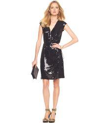 Michael Kors | Metallic Sequined Wrap Dress | Lyst