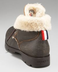 Moncler - Brown Shearling-lined Work Boot for Men - Lyst