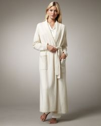 Neiman Marcus | White Long Cashmere Robe, Ivory | Lyst