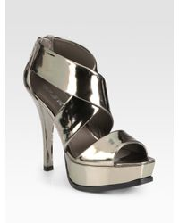 Pour La Victoire | Tifara Metallic Leather Platform Sandals | Lyst