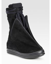 Rick Owens | Black Lace-up Suede Ankle Boots | Lyst