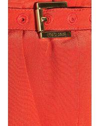 Roberto Cavalli - Red Silk Crepe De Chine Wide-leg Pants - Lyst