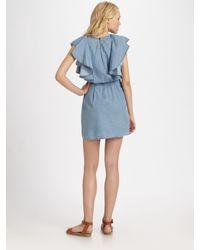 See By Chloé - Blue Ruffled Denim Dress - Lyst