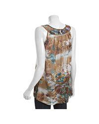 Sienna Rose - Brown Flower Print Chiffon Crocheted Tank Blouse - Lyst