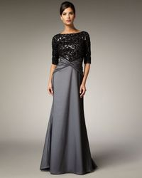 Tadashi Shoji - Gray Lace and Sequin Bodice Gown - Lyst