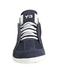 Y-3 | Blue Adidas Navy Nylon and Suede Kazuhiri Sneakers for Men | Lyst
