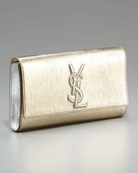 Saint Laurent | Metallic Logo Clutch, Gold/silver | Lyst