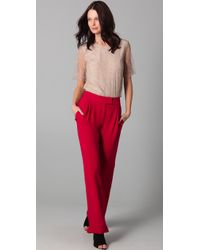 Adam Lippes | Red Pleated Wide Leg Pants | Lyst
