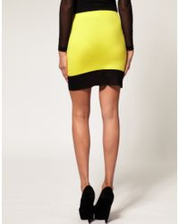ASOS Collection - Yellow Asos Mini Skirt with Mesh Hem - Lyst