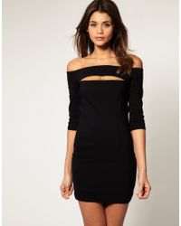 ASOS Collection | Black Asos Off Shoulder Dress with Cut Out | Lyst