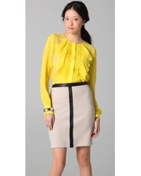 BCBGMAXAZRIA | Yellow Cait Striped Lace Front Blouse | Lyst