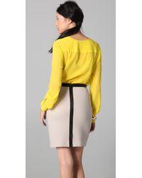 BCBGMAXAZRIA - Yellow Cait Striped Lace Front Blouse - Lyst