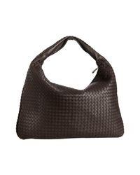 Bottega Veneta | Dark Brown Intrecciato Leather Maxi Veneta Hobo | Lyst