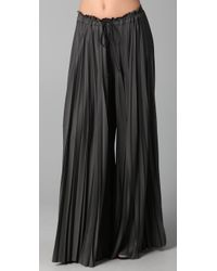 Enza Costa | Gray Pleated Palazzo Pants | Lyst