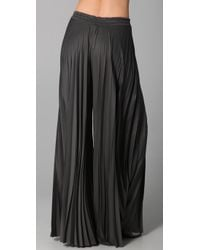 Enza Costa - Gray Pleated Palazzo Pants - Lyst