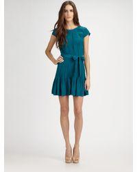 Gryphon | Blue Silk Pintucked Dress | Lyst