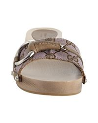 Gucci | Natural Lilac Gg Canvas Horsebit Sandals | Lyst