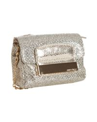 Jimmy Choo | Metallic Champagne Glitter Fabric Caro Convertible Chain Strap Pouch Clutch | Lyst