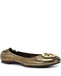 Tory Burch - Reva - Bronze Metallic Suede Ballet Flat - Lyst