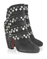 Alaïa - Black Mirror-Embellished Laser-Cut Suede Sandals - Lyst