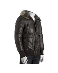 Mackage | Black Cocoa Quilted Kaine Fur Trim Hooded Down Fill Bomber Jacket for Men | Lyst