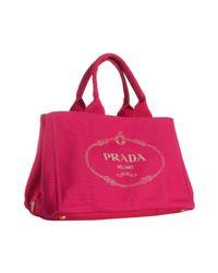 Prada | Pink Raspberry Canvas Logo Tote | Lyst