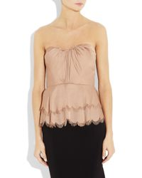 Rebecca Taylor   Pink Tiered Satin Strapless Top   Lyst