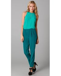 Tibi | Blue Colorblock Jumpsuit | Lyst