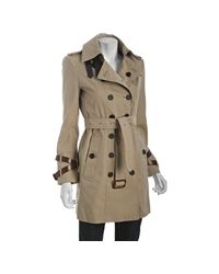 Burberry | Natural London Honey Cotton Queensboro Leather Trim Trench | Lyst