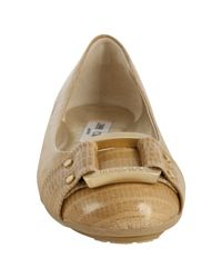 Jimmy Choo | Natural Sand Croc Embossed Patent Leather Morse Flats | Lyst