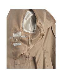 Brunello Cucinelli | Brown Beige Pinstriped Cotton 3-button Elbow Patch Blazer for Men | Lyst