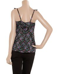Juicy Couture - Black Floral-print Cotton and Silk-blend Top - Lyst