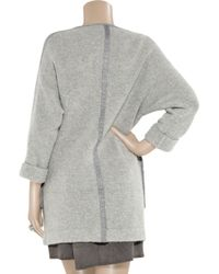 3.1 Phillip Lim - Gray Brushed-knit Zip-front Coat - Lyst