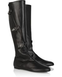 Alexander McQueen - Black Buckle-detail Leather Knee Boots - Lyst