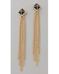 Belle Noel | Metallic Black Leather Pyramid Stud Tassel Earrings | Lyst