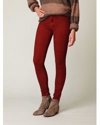 Free People - Red Skinny Cords - Lyst