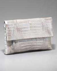 Nancy Gonzalez - Gray Crocodile Flap-top Clutch - Lyst