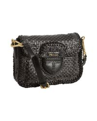 Prada - Anthracite and Black Woven Leather Madras Crossbody Bag - Lyst