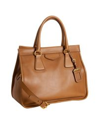 Prada | Brown Cinnamon Leather City Calf Medium Convertible Tote | Lyst