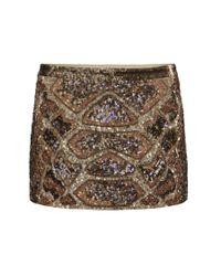 AllSaints - Brown Embellished Python Skirt - Lyst
