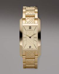 Burberry | Metallic Check-engraved Rectangular Watch, Golden | Lyst