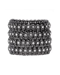 Cara | Gray Crystal Circle Stretch Bracelet | Lyst