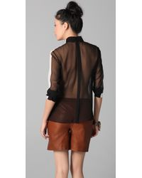 Cushnie et Ochs - Black Button-up Blouse with Sheer Back - Lyst