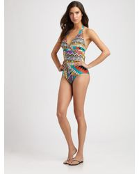 Etro | Metallic One-Piece Tribal Swimsuit | Lyst
