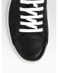 Ferragamo | Black Miami Embroidered Gancini Canvas Sneakers for Men | Lyst