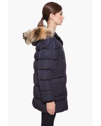 Moncler - Blue Raccoon Fur Trim Gueran Coat - Lyst